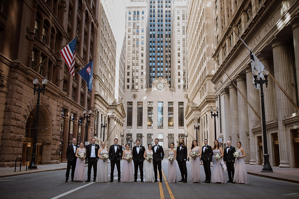 Wedding party in front of Board of Trade in Chicago