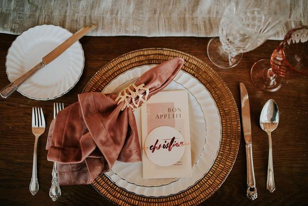 Wedding menu and velvet napkins