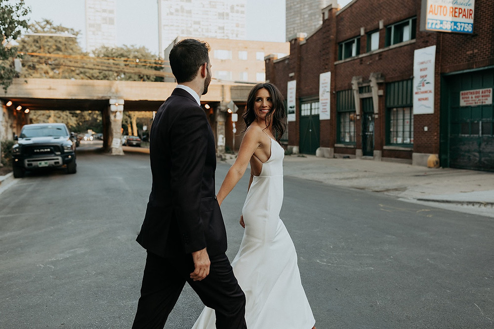 Cool chicago couple on wedding day