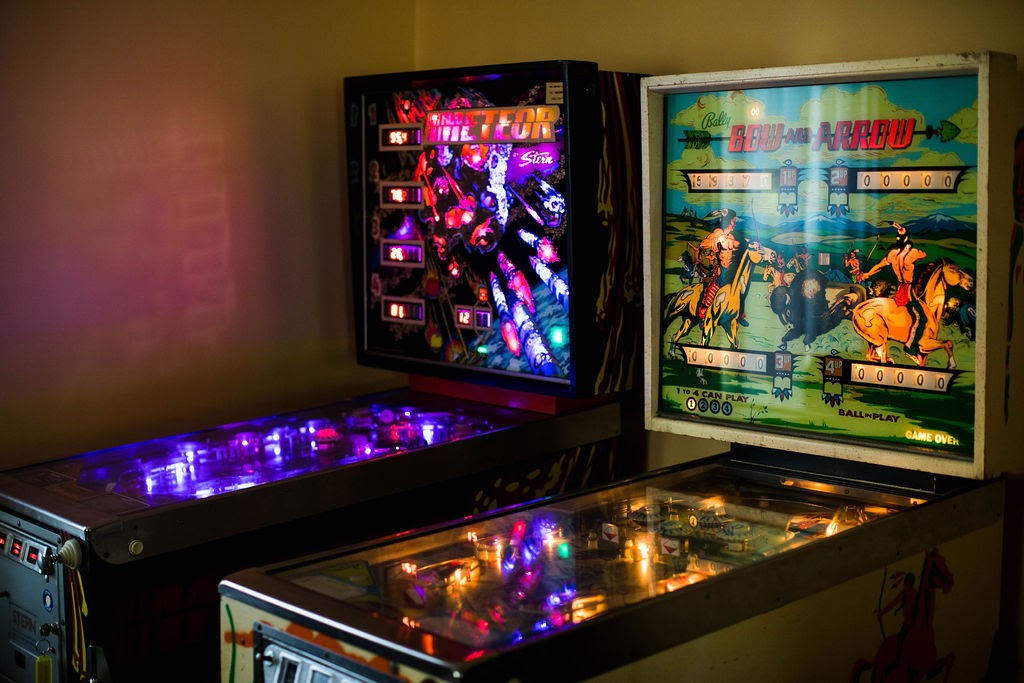 Pinball machines on wedding day