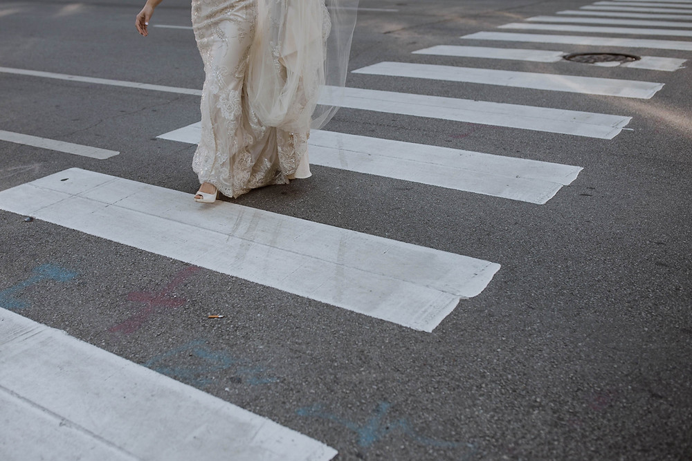 Bride walking in Chicago