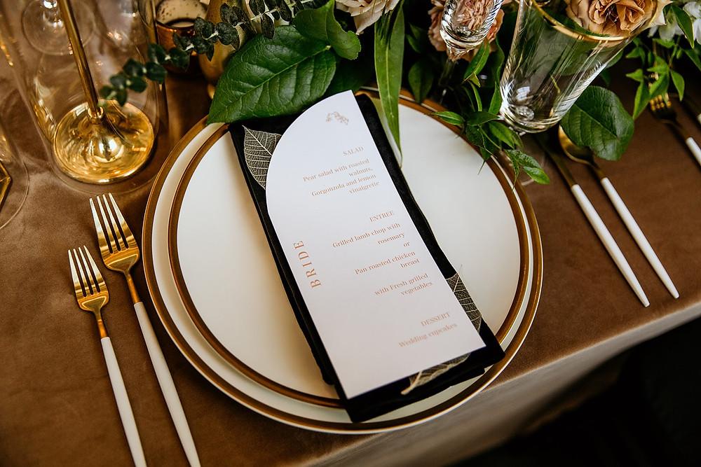Wedding menu with leaves