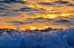 Waves Breaking at Sunset