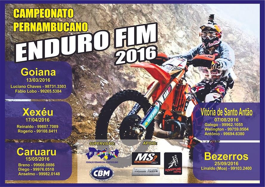 Calendário do Campeonato Pernambucando de Enduro FIM 2016