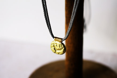 14k Gold Coin Pendant on a Cotton Cord