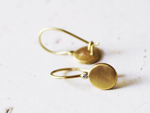 Gold Disc Classic Earrings Set With White Diamonds