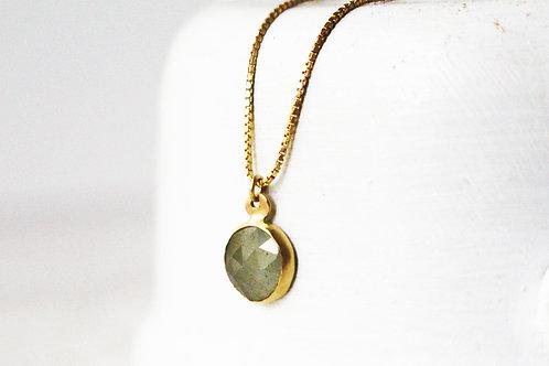 Round Gray Sapphire Necklace