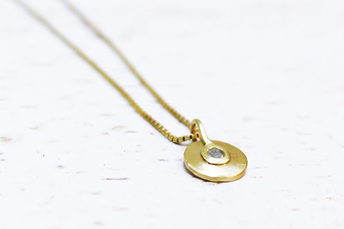 Gray Diamond Pendant on a Gold Necklace