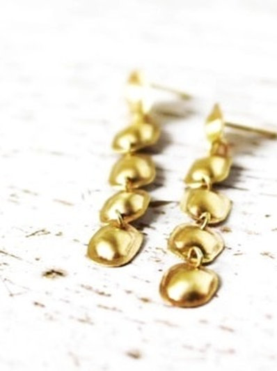 14k Gold Long Puff Earrings