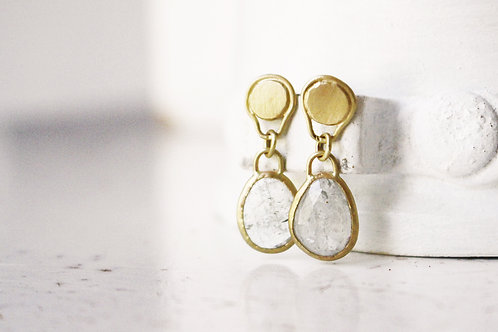 Matte 14k Gold Sapphire Earrings