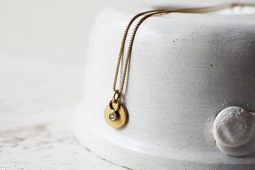 14k Gold Round Pendant with Tiny Diamond Pendant
