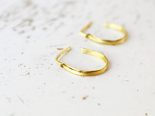 14k Matte Gold Loop Earrings