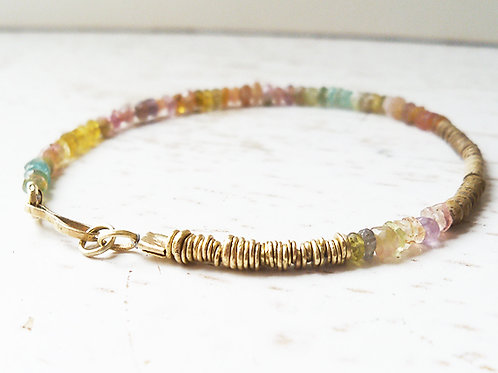 Colorful Beads And 14K Gold Discs Bracelet