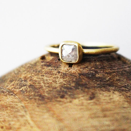 14k Gold Square Gray Diamond Ring
