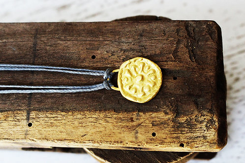 22k Gold Coin Pendant on Cotton Cord