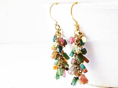Multicolor Tourmaline & Gold Elements Chandelier Earrings