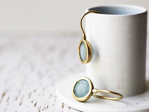 Classic 14k Gold Dangle Aquamarine Earrings