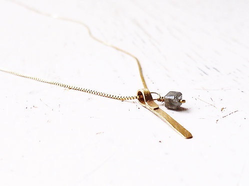 A Gold Strip & Diamond Cube Necklace