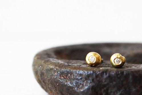 Moon Diamond 14k Gold Studs