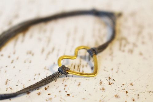 Friendship Bracelet - 14k Gold Heart on a Gray Cotton Thread
