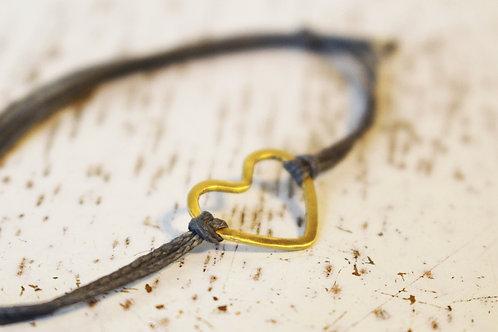 Friendship Bracelet - 14k Gold Heart on a Gray Cotton Thread