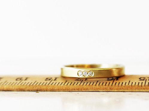 14k Gold Wedding Band Set With 3 Diamonds