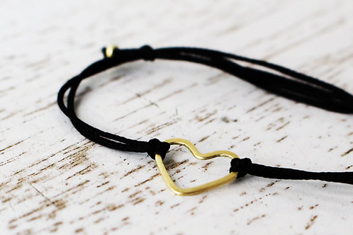Friendship Bracelet - 14k Gold Heart on a Black Cotton Thread