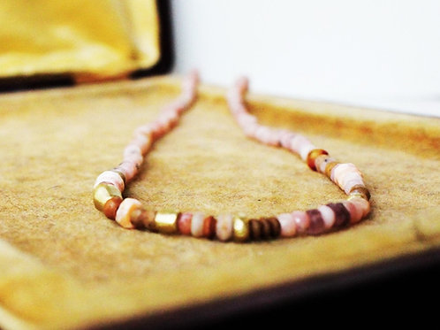 Natural Peruvian Opal Beads and 14k Gold Beads Necklace