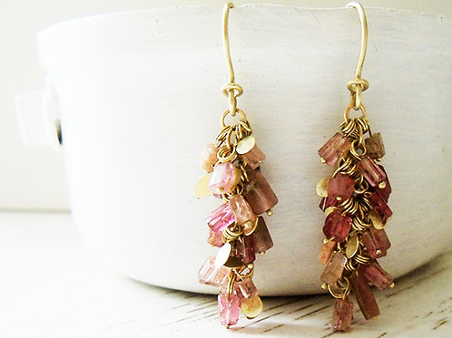 Tourmaline & Gold Beads Chandelier Earrings