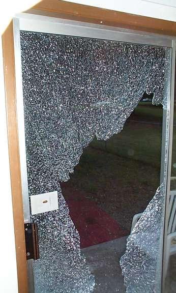 Door glass broken to gain access