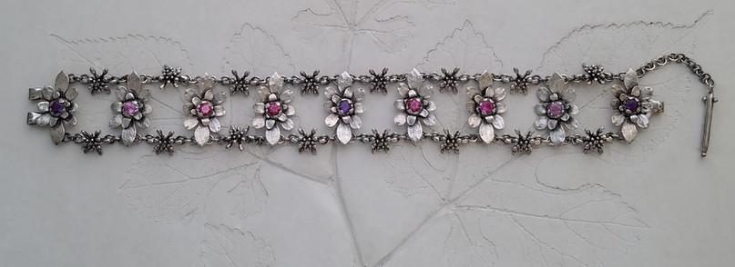 botanical jewelry, handcrafted designer sterling silver bracelet , flower bracelet