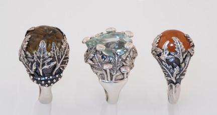 Custom dterling silver rings inspired by nature, leaf rings, maple leaves, spessartite garnet, star rutilated quartz, aquamarine, gemstones, botanically inspired ring