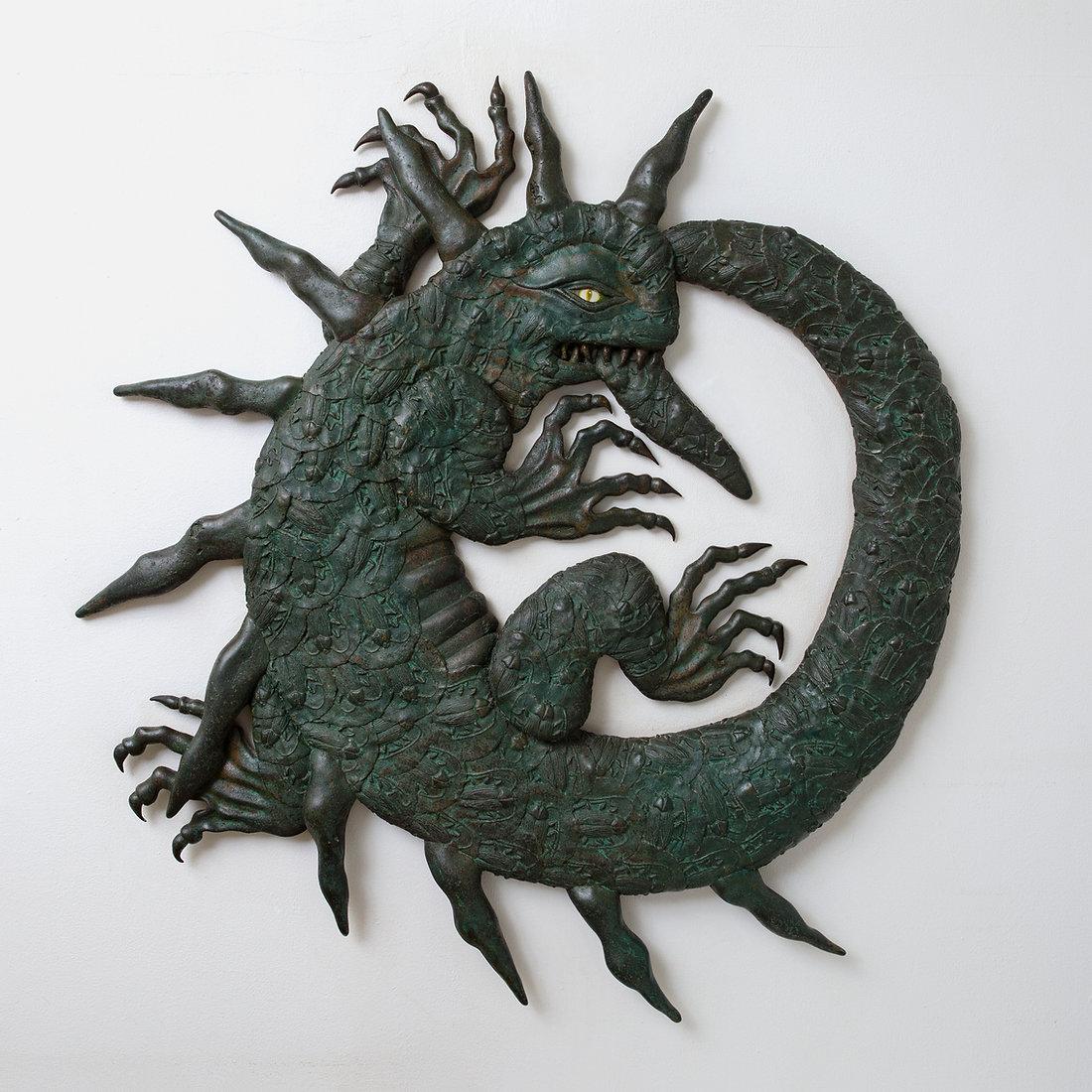 Orobouros  cast bronze serpent wall sculpture
