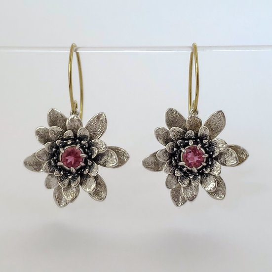 flower power earrings - with rubelite tourmaline