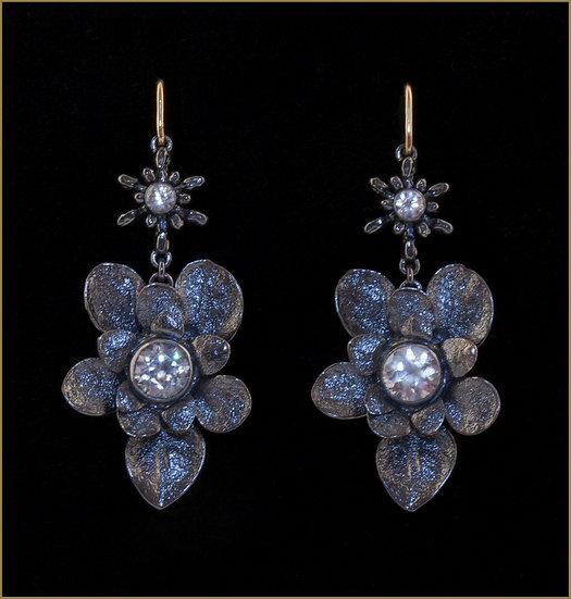 honeysuckle flower bud and arnica calyx flower earrings