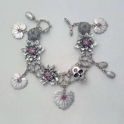 handcrafted memento mori bracelet, memento mori, skull n' roses artisan bracelet