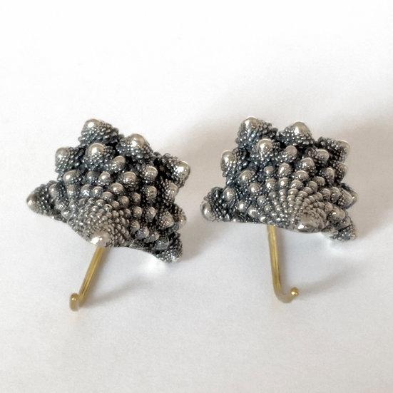 romanesco fractal cast sterling silver earrings
