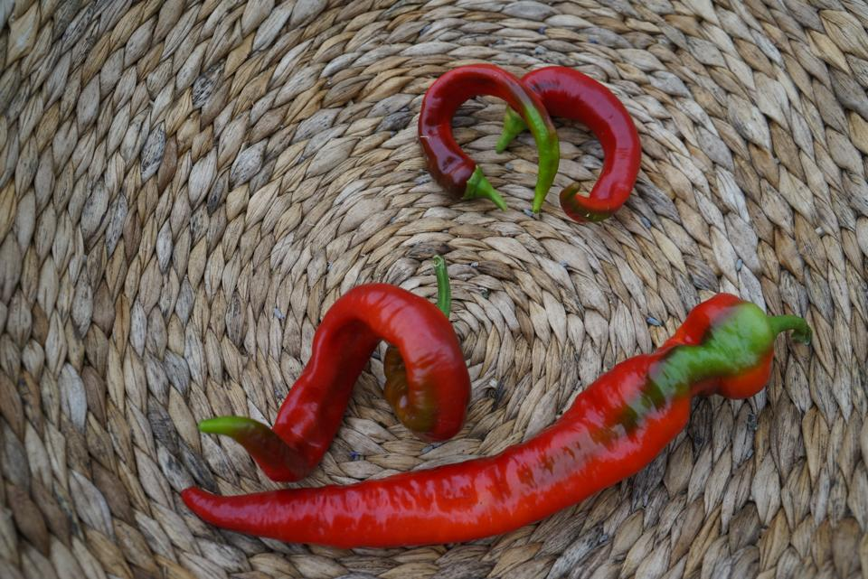 Chiles in Handwoven Basket