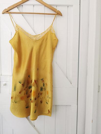 Silk slip - mustard & daisies