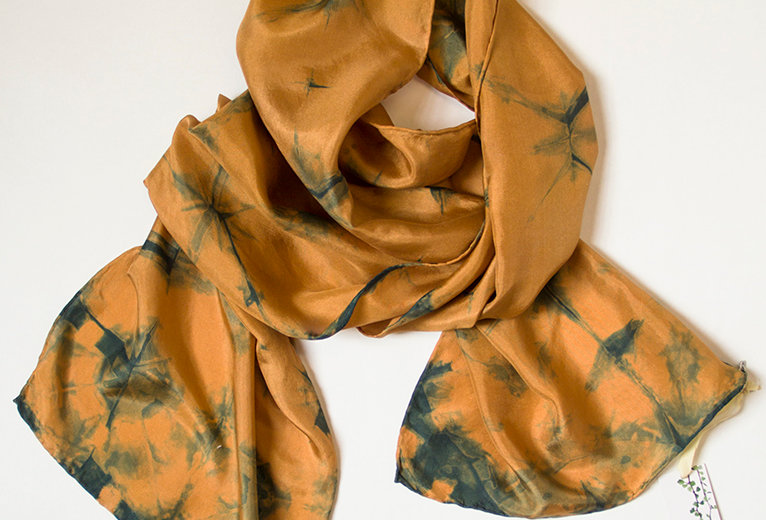 Silk scarf - Burnt butter