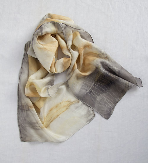 Silk scarf - gold and grey