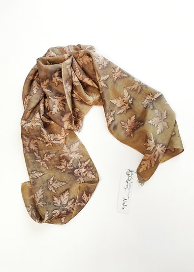 Silk scarf - olive and gold