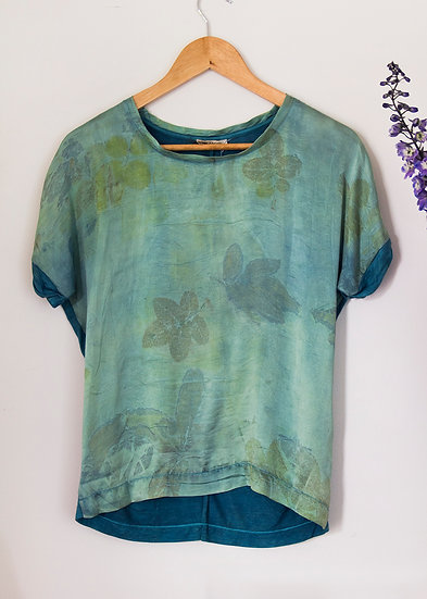 Silk and cotton tee - teal