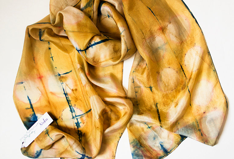 Silk scarf - Caramel & Indigo