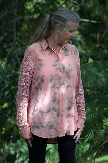 Silk blouse in coral with lace sleeves