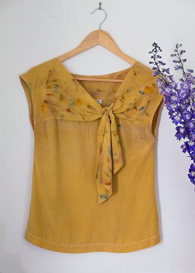 Silk top with bodice tie - mustard