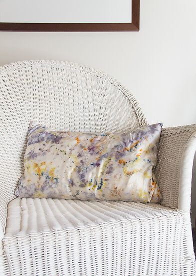 Silk and linen cushion, eco dyed