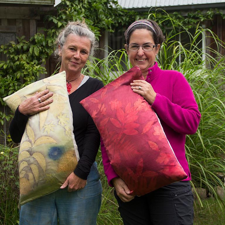 Eco dye a silk cushion