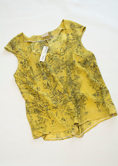 Crepe de chine blouse - charcoal and butter yellow