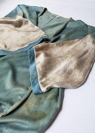 Plant dyed satin kimono/duster